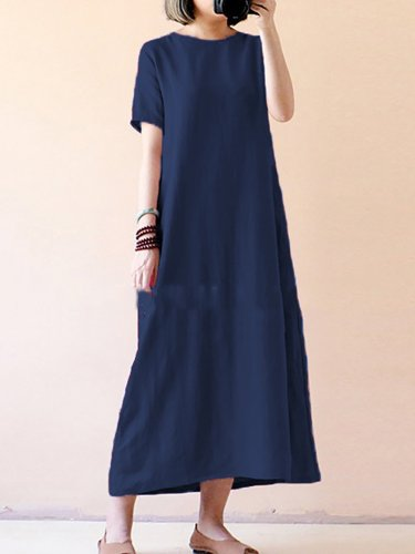 Shift Women Daily Linen Short Sleeve Casual Solid Casual Dress