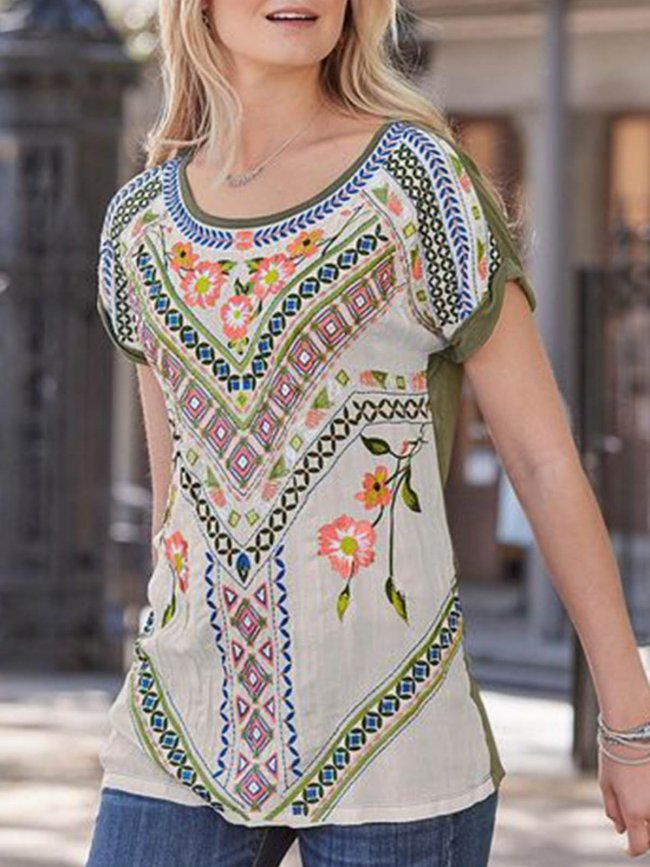 Cotton-Blend Short Sleeve Round Neck Holiday Shirts & Tops