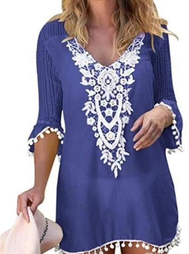 Women Casual Lace Tops Tunic Blouse Shirt