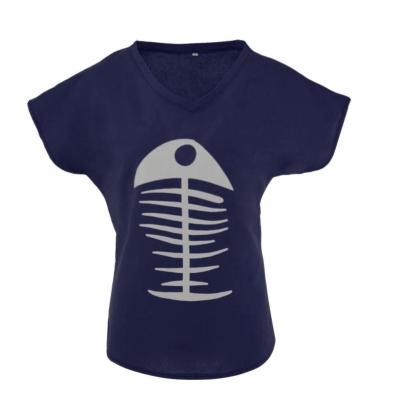 Fishbone Print V-neck Loose T-shirt