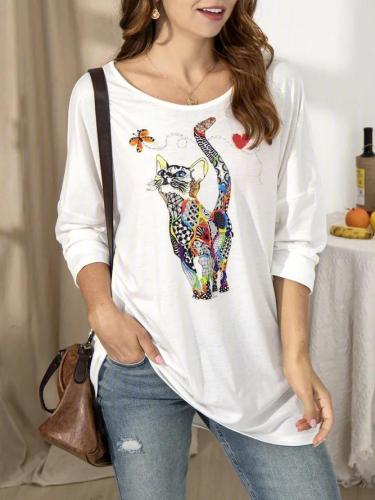 Casual Printed Cotton-Blend Crew Neck Shirts & Tops