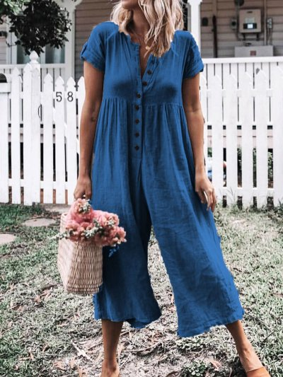 Women Casual Solid Short Sleeve Romper Jumpsuits