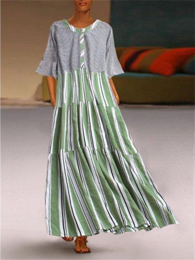 Cotton-Blend Short Sleeve Printed Round Neck Dresses
