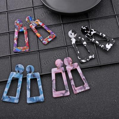 Handmade Drop Earrings New Fashion Geometric Long Acrylic Metal Earrings
