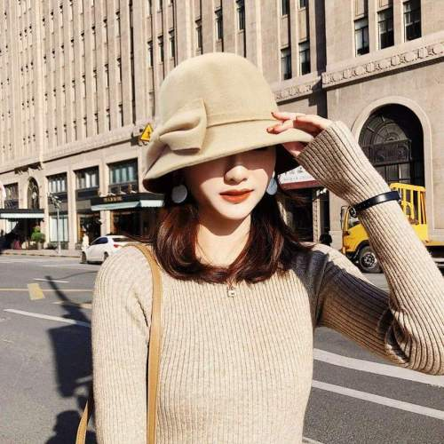 Big Bow-knot Woolen Ladies Hats Solid Color Women Hat Winter
