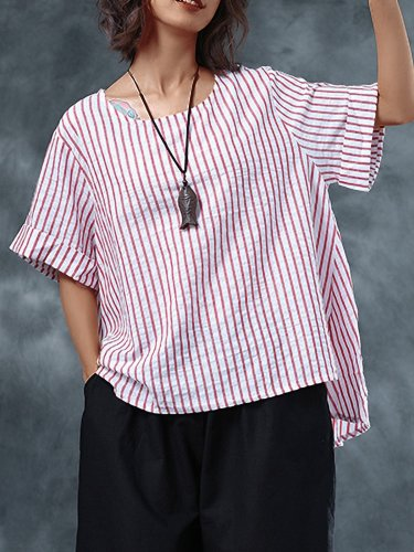 Plus Size Women Short Sleeves Round Neck Striped Loose Casual Tops