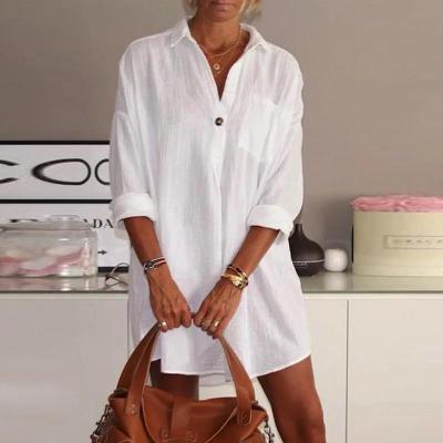 Elegant Turn-down Collar Button Shirt Dress 2020 Autumn Long Sleeve Floral Print Loose Party Dress