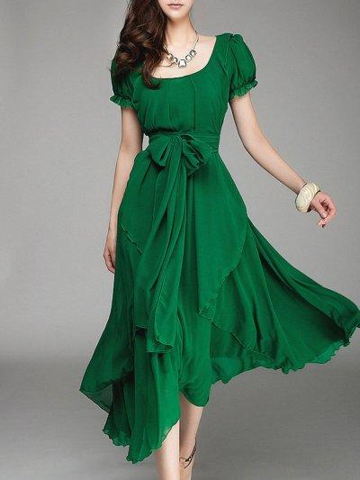 Green Asymmetric Chiffon Resort Holiday Dress with Belt