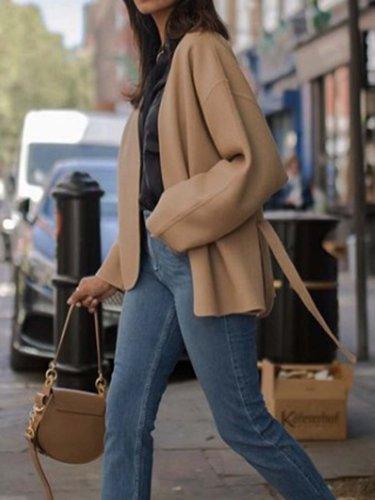 Khaki V Neck Long Sleeve Outerwear