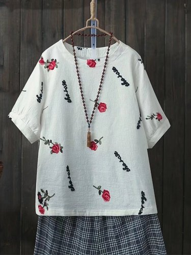 Women Casual Embroidery Tops Tunic T Shirt