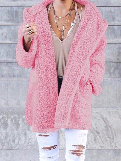 Women Cashmere Sherpa Coat Warm Teddy Bear Coats With Hoodie