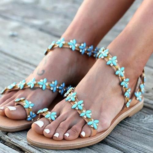Summer Handmade Cute Beach Flat Sandals PU Rhinestone Slip On Sandals