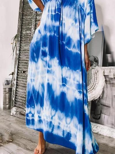 Blue Cotton-Blend Short Sleeve V Neck Dresses