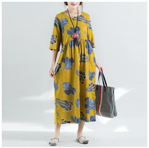 Floral Printed Short Sleeve Cotton&Linen Maxi Dress