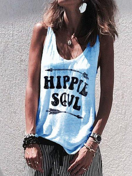 Casual Sleeveless Letter Shirts & Tops