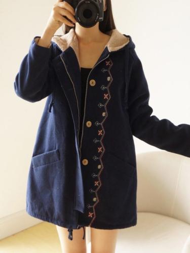 Solid Cotton Vintage Hoodie Long Sleeve Coat