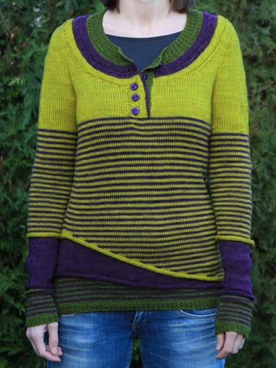 Yellow Striped Casual Wool Blend Women's Sweaters