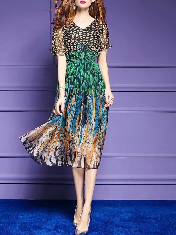 Short Sleeve Beach Chiffon Printed Midi Dress
