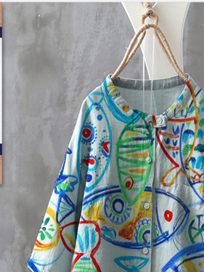 Blue Abstract Holiday Shirts & Tops