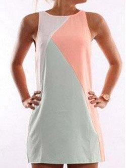 Round Neck  Contrast Trim  Contrast Stitching  Sleeveless Dresses