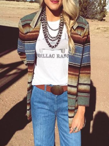 Multicolor Stripes Lapel Cotton-Blend Long Sleeve Outerwear