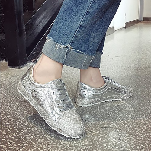 Women's Fashion Harajuku Style Solid Color Rhinestone Sneakers