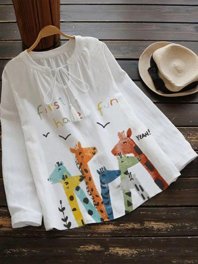 White Sweet Cotton-Blend Shirts & Tops