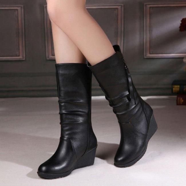 Comfy Wedge Heel Mid-Calf Zipper Women Boots