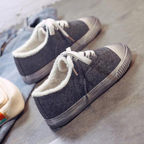 Solid Color Lace-up Casual Flat Heel Cloth Flats