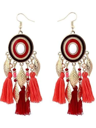 Colorful Long Tassel Big Statement Bohemian Earrings