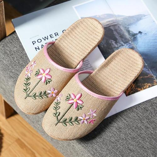 Linen Slippers Women's Home Indoor Slippers Summer