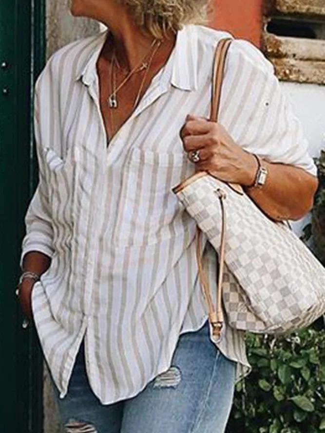 Plus size Casual Striped Shirts & Tops