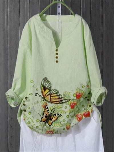 Khaki Floral Cotton-Blend Vintage Shirts & Tops