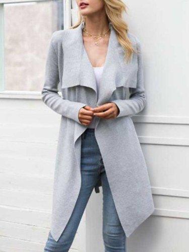 Casual Long Sleeve Shawl Collar Cotton Cardigan