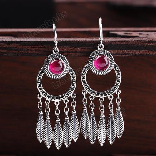 Thai Silver Leaf Tassel Earrings for Women Real 925 Silver Earrings