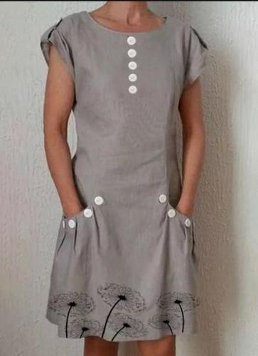 Round Neck Cotton Dresses