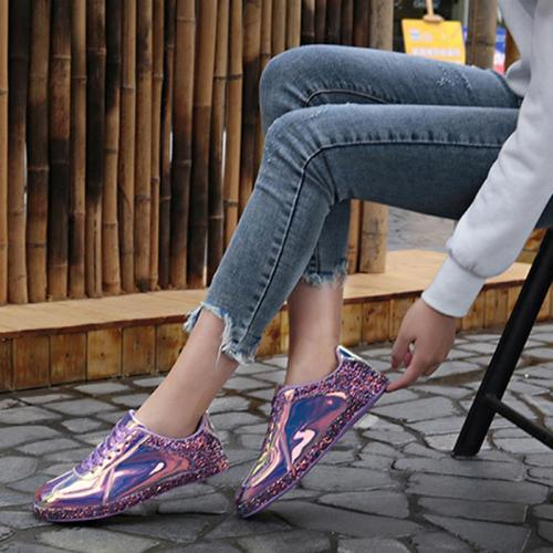 Euramerican Style Lace-Up Low-Top Metal Sneakers