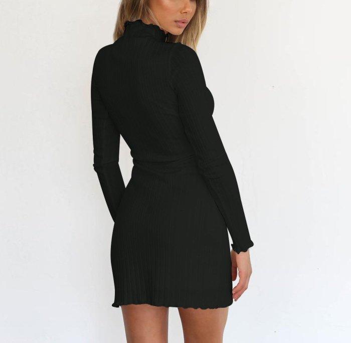 Fashion High Collar   Sexy Long Sleeve Knitted Sweater Mini Bodycon Dress