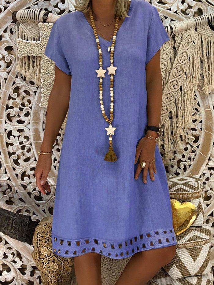 Hollow Cotton-Blend A-Line Casual Short Sleeve Dresses