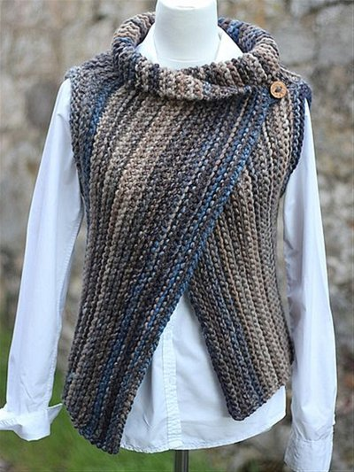 Autumn Winter Casual Basic Daily Knitted Sleeveless Vest