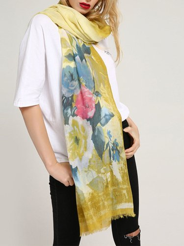 Womens Cotton Flower Scarves