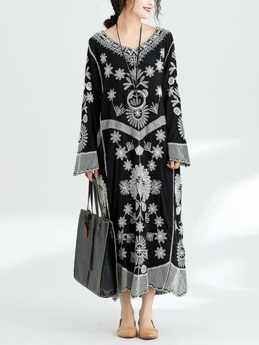Chic Embroidered Retro Long Dress