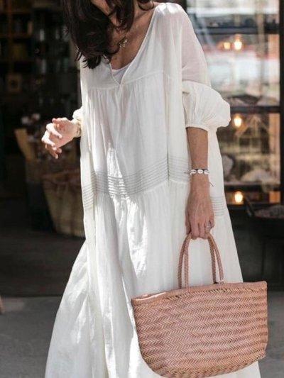 Bohemian casual  Solid dress