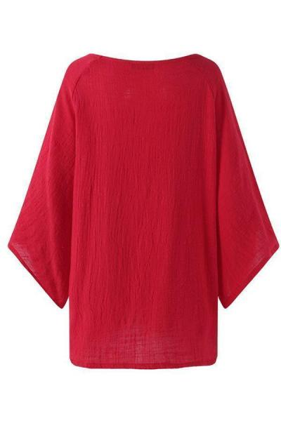 High Low 3/4 Sleeves Round Neck  T-shirts