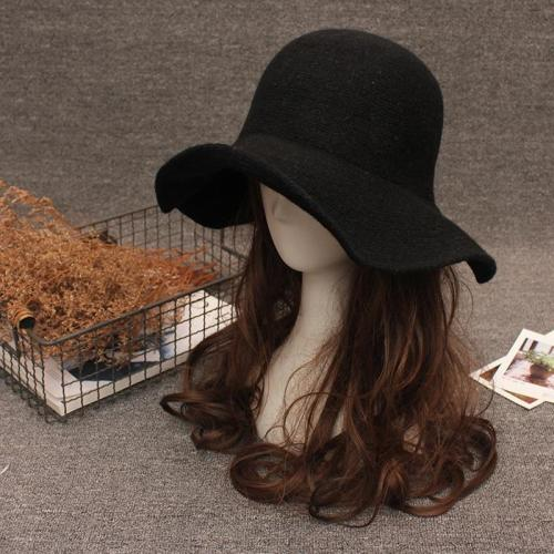 New Elegant Sheep Wool Cap Knitting Big Brim Fedora Hat Winter Thick