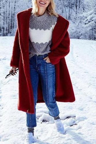 Fashion Lapel Pocket Long Sleeve Polar Fleece Coats