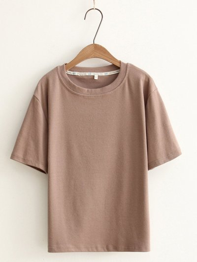 Round Neck Casual Loose Tops Tunic T Shirt