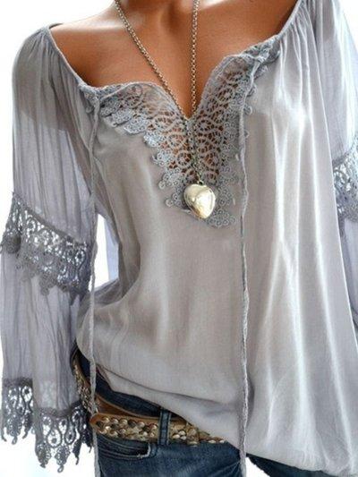 V Neck Casual Long Sleeve Cutout Paneled Lace Blouses