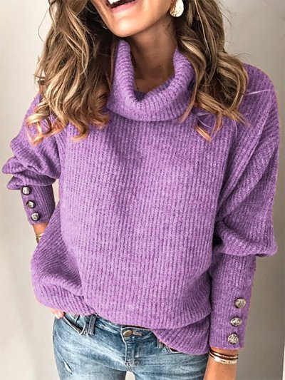 Casual Solid Turtleneck Buttoned Sweaters