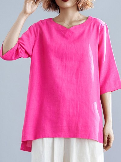 Plus Size Women Solid V Neck Half Sleeves Loose Casual Tops
